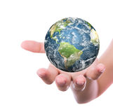 Hand with earth Stock Images