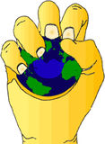 Hand with earth stress ball. A fully scalable vector illustration of a hand holding an earth stress ball stock illustration