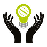 Hand with eco idea bulb vector symbol isolated. Royalty Free Stock Photography