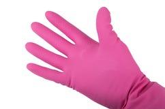 Hand in einem rosa Gummihandschuh Stockbilder