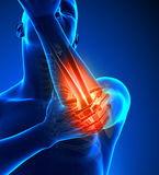 Elbow Pain Male - Front view Royalty Free Stock Image