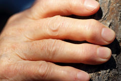 Hand of an elderly woman. Fingers on the hand of an elderly woman closeup Stock Photos