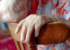 Old woman hand Stock Images