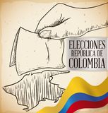 Hand with Electoral Card and Flag Promoting to Vote in Colombian Elections, Vector Illustration. Hand drawn design with hand holding a electoral card and Royalty Free Stock Image
