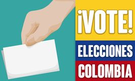 Hand with Electoral Card Promoting Voting Season in Colombia, Vector Illustration. Promotional banner promoting the importance of vote in Colombian Elections Royalty Free Stock Photography