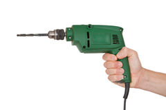 Hand with electric drill Royalty Free Stock Image