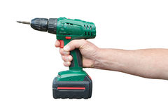 Hand with electric drill Stock Photo