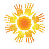 Hand Emblem. Sign of  silhouettes of palm prints in form of sun Stock Photo