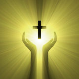 Hand embrace god cross light halo Stock Photos