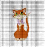 Hand embriodery  orange cat for an embroidery hands a cross Royalty Free Stock Photo