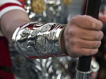 Hand of the Empire. Roman centurion's arm dressed in armour and holding a spear Royalty Free Stock Photo