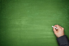 Hand on Empty Blackboard Stock Image