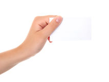 Hand an empty business card Stock Photography