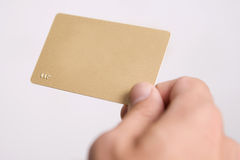 Hand and empty vip card. Mans hand is holding empty vip card Stock Photography