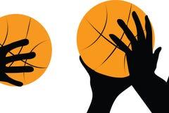 Hand en basketbal Stock Foto's