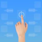Hand en computer Stock Foto