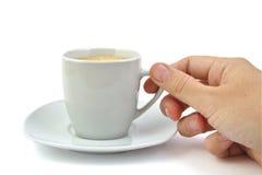 Hand en een kop van koffie Royalty-vrije Stock Afbeeldingen