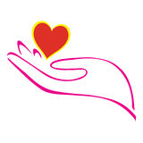 Hand en hart vector illustratie