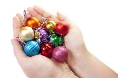 Hand en Kerstmisstuk speelgoed decoratie Royalty-vrije Stock Afbeelding