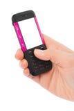 Hand en mobiele telefoon Stock Foto