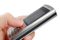 Hand en mobiele telefoon royalty-vrije stock fotografie