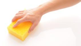Hand en spons royalty-vrije stock afbeelding