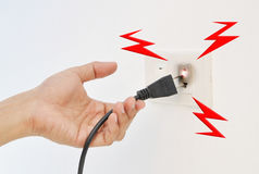 Hand en Stopelektriciteitsschok Royalty-vrije Stock Foto's