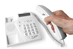 Hand en telefoon Stock Foto