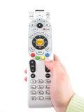 Hand en TVafstandsbediening Royalty-vrije Stock Afbeelding