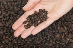 Hand en verse geroosterde koffiebonen Royalty-vrije Stock Afbeeldingen