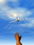 Hand en vliegtuig stock illustratie