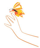 Hand en vlinder Stock Fotografie