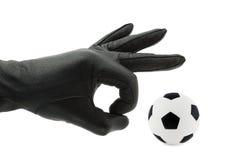Hand en voetbalbal stock fotografie