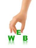 Hand en woordWEB royalty-vrije stock afbeeldingen