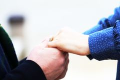 Couple getting engaged stock photography