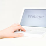 Hand entering webinar Royalty Free Stock Photography