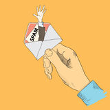 Hand the envelope. Creative with the spamming. The hand holding the envelope. Vector illustration stock illustration