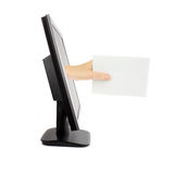 Hand with envelope. Lcd monitor and hand with envelope, isolated on white stock photos