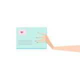 Hand with envelope Stock Photo
