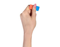Hand with eraser Royalty Free Stock Photography