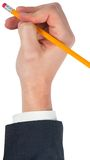 Hand erasing with a pencil eraser Royalty Free Stock Images