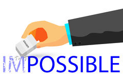Hand - Erasing Text Impossible with Eraser - Illustration For How To Change Impossible To Possible Thing At white Background Stock Image