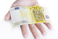 Hand with 200 euro banknote Royalty Free Stock Photos