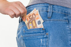 Hand with euro banknotes Stock Photography