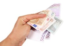 Hand with euro bills Stock Images