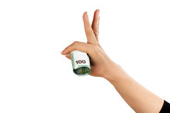 Hand with euro bond. As sign of success royalty free stock photography