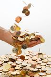 Hand with euro coins Royalty Free Stock Photography