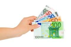 Hand with euro money Stock Photos