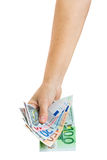 Hand with  euro money Royalty Free Stock Photos