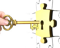 Hand with Euro sign key open lock puzzle piece Royalty Free Stock Photography